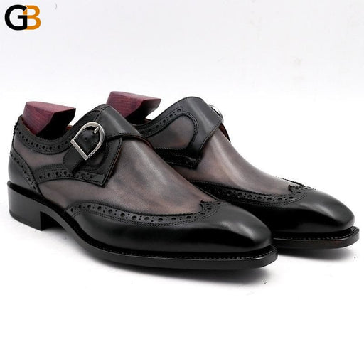 Square Toe Hand Painted Patina Gray Black Double Monk Straps Buckle Full Grain Calf Leather - SolaceConnect.com