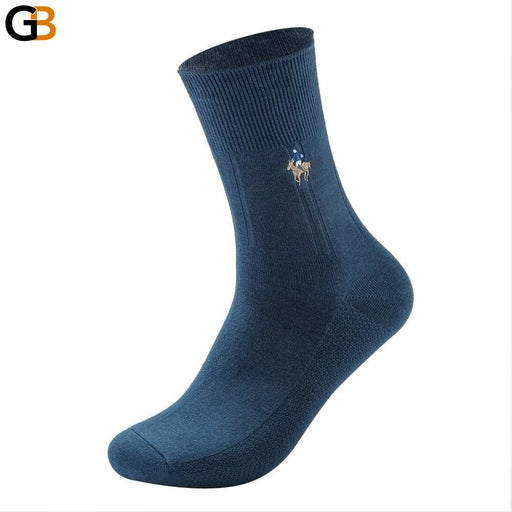 Cotton Socks Men Fashion Casual Crew Socks Business Embroidery Autumn Winter Men's Socks - SolaceConnect.com