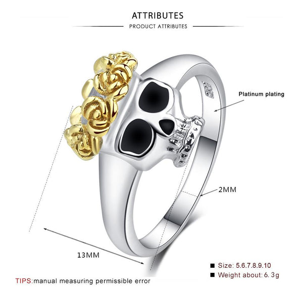 Unisex Vintage Beach Silver Color Austrian Gothic Skull Flower Ring Jewelry - SolaceConnect.com
