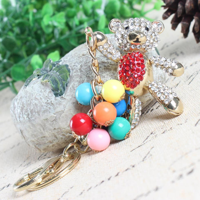 Red Belly Panda Bear with Balloons Arm Move Crystal Charm Pendant Key Chain - SolaceConnect.com