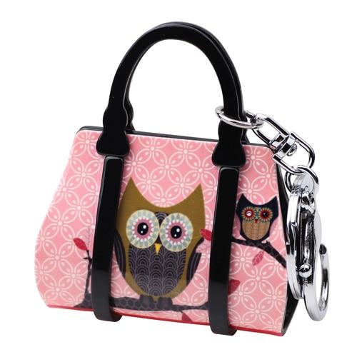 Acrylic Handbag Shape Owl Bird Pattern Key Chain Jewelry for Women - SolaceConnect.com