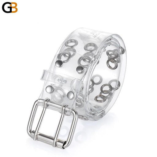 Two Row Grommets Fashion Belts For Women Double Pin Buckle PVC Material strap for ladies Accessories - SolaceConnect.com