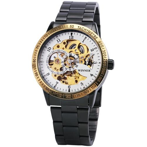 WINNER 2019 Fashion Militray Watch Men Auto Mechanical Skeleton Dial Copper Stainless Steel Strap - SolaceConnect.com