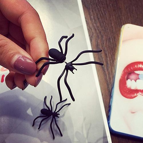 Boy Girl Funny Jewellery Punk Style Weird Big Black Spider Stud Earrings - SolaceConnect.com