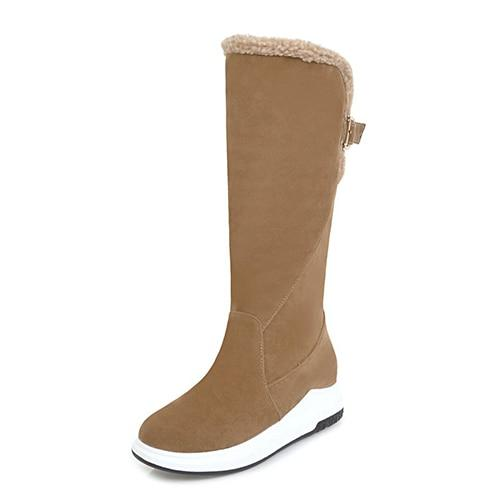 Warm Winter Knee High Snow Boots Shoes for Ladies with Metal Buckle - SolaceConnect.com