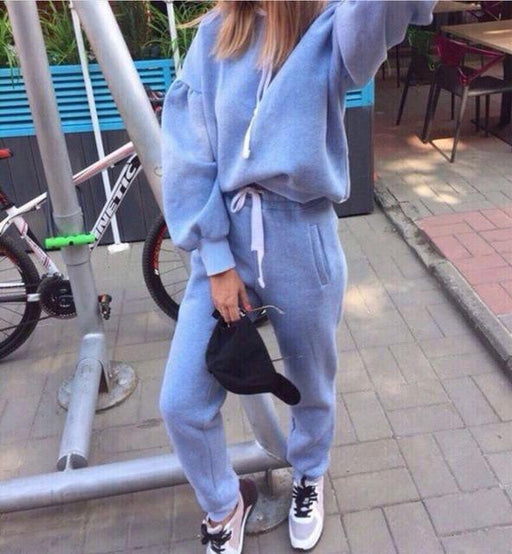 Women's Casual Sports Long Sleeve Thicken Hooded Autumn Tracksuit - SolaceConnect.com