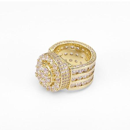 Men's Wide Cubic Zirconia Gold and Silver Color Hip Hop Engagement Rings - SolaceConnect.com