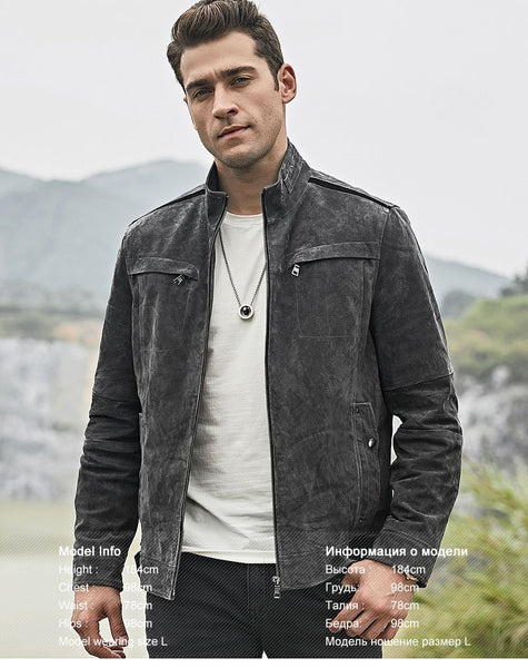 Men's Real Pigskin Leather Gray Biker Jacket with Standing Collar - SolaceConnect.com
