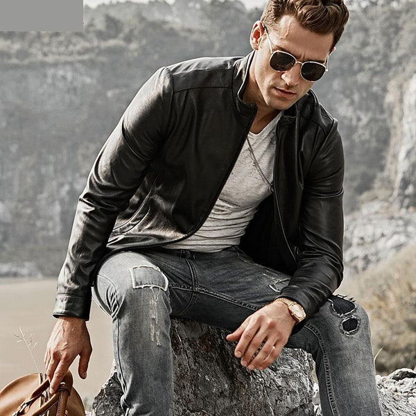 Men's Real Leather Jacket Men Motorcycle Lambskin Slime Fit Genuine Leather Coat with Standing - SolaceConnect.com