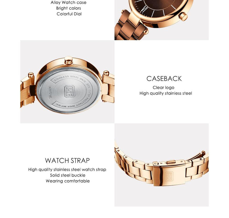 Women's Top Luxury Rose Gold Stainless Steel Quartz Ladies Watches - SolaceConnect.com