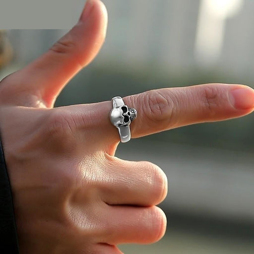 ZABRA Real 925 Sterling Silver Punk Skull Ring Men Vintage Rings For Men Women Lovers Fashion Cool - SolaceConnect.com