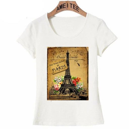 Short Sleeved Casual Summer T-shirt for Women with Vintage Paris Print - SolaceConnect.com