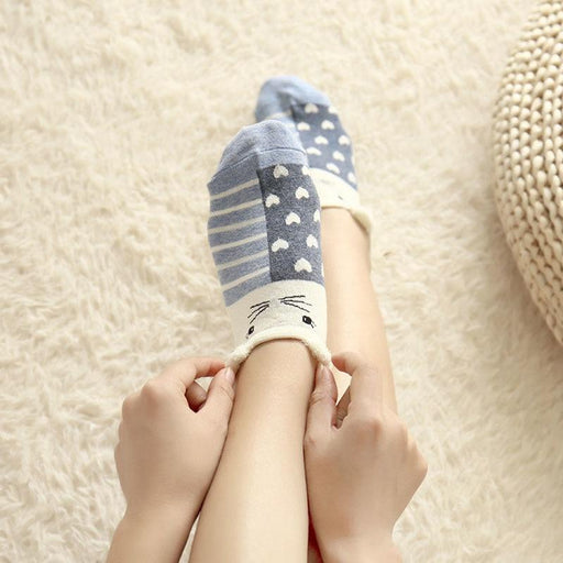 5 Pairs Women's Funny Cute Cartoon Stereoscopic Animals Ankle Socks - SolaceConnect.com