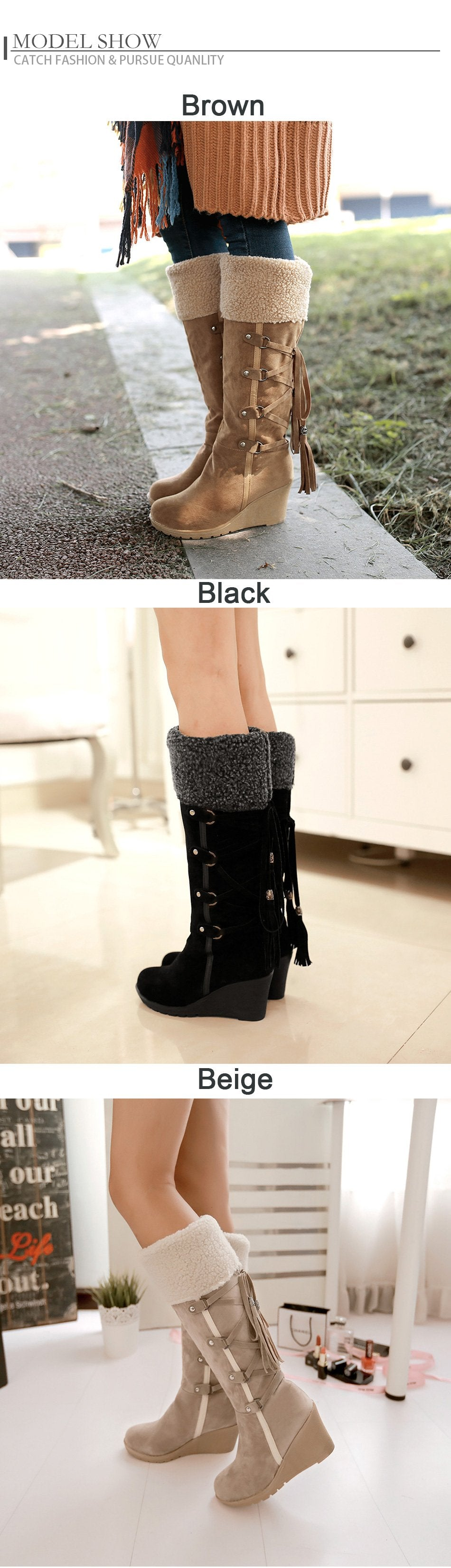 f2e1ba02e33 Gdgydh Fashion Scrub Plush Snow Boots Women Wedges Knee-high Slip ...