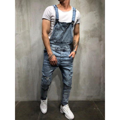 Men's Fashion Ripped Jumpsuits Street Distressed Denim Bib Overalls - SolaceConnect.com