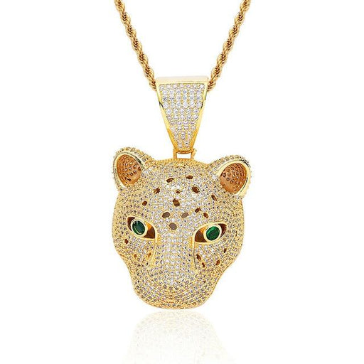 Iced Out Leopard Head Men's Pendant 2 Color Micro Zircon Hip Hop Necklace - SolaceConnect.com