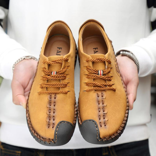 Quality Men's Casual Split Leather Flat Loafer Moccasins Shoes - SolaceConnect.com