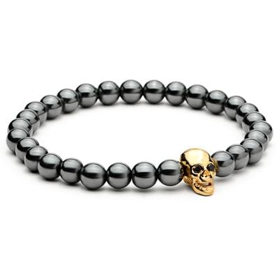 Luxury Black Hematite Stone Beaded Skull Charm Bracelet for Women Men - SolaceConnect.com