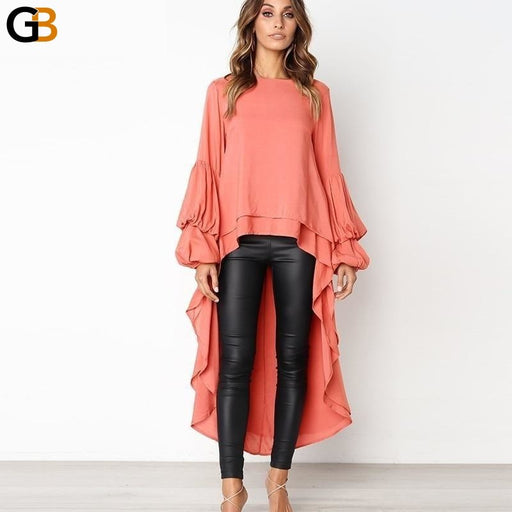 Women Dovetail Long Blouse Shirts Casual Solid Woven Ruffle Blusa Top Autumn Long Sleeve O Neck - SolaceConnect.com
