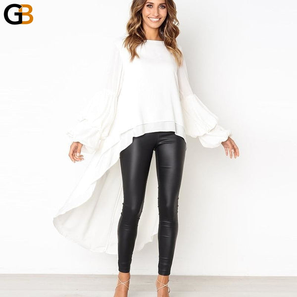Women's Dovetail Solid Woven Ruffle Long Sleeve O Neck Blouse - SolaceConnect.com