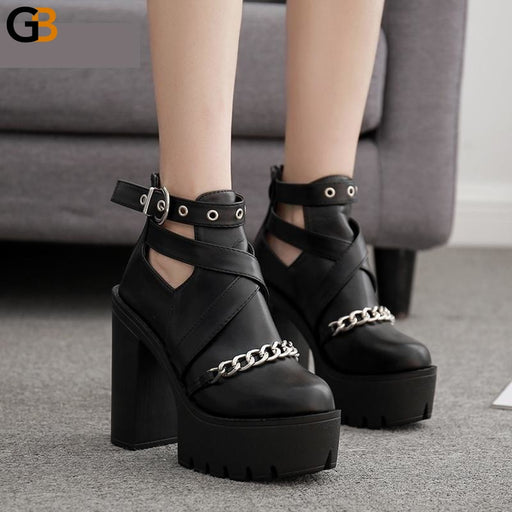 Women's Fashion Chain Ankle Boots Shoes with Zipper Square High Heels - SolaceConnect.com