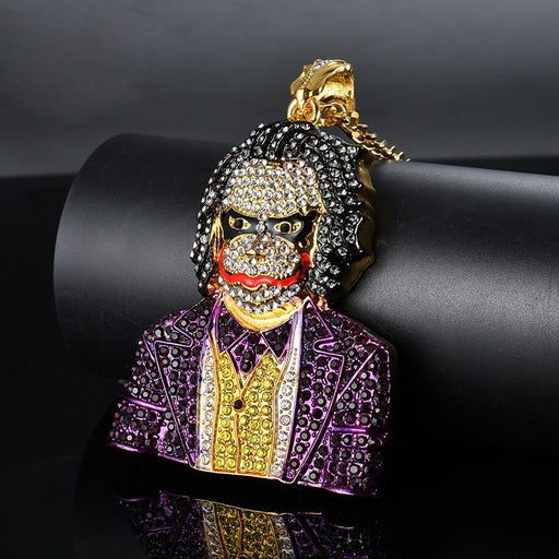 Men's Big Clown Pendant Necklace 2 Color Rhinestone Hip Hop Jewelry - SolaceConnect.com