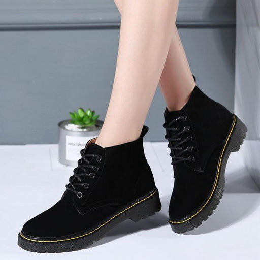 6 Colors Classic Genuine Leather Women's Winter Lace-up Flat Boots - SolaceConnect.com