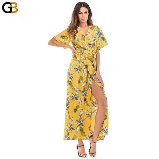 AOTEMAN Print Floral Summer Dress Women New Casual Sexy Deep V High Fork Long Dress Female Elegant - SolaceConnect.com