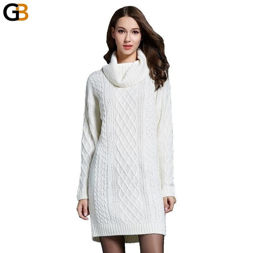 AOTEMAN Winter Sweater Women Dress New Solid Turtleneck Sweater Warm Oversize Long Sleeve Sweater - SolaceConnect.com