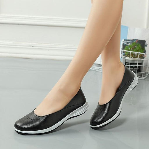 Handmade Summer Hole Slip-on Loafers for Women Flat Leather Moccasin - SolaceConnect.com