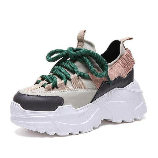 Leather Women's Plus Size 35-42 Platform Height Increasing Sneaker Shoes - SolaceConnect.com