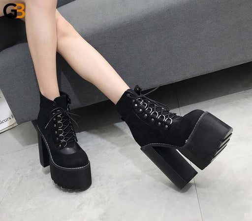 Ladies Autumn Ankle Cross-tied Black Boots with Round Toe and Heels - SolaceConnect.com