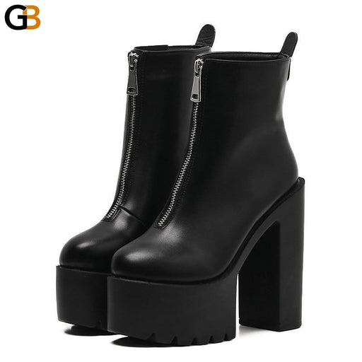 Black Leather Ankle Women's Boots High Heels Spring with Round Toe - SolaceConnect.com