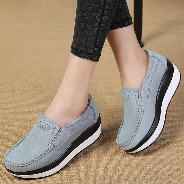 Suede and Leather Women's Slip-On Casual Flat Loafers with Round Toe - SolaceConnect.com