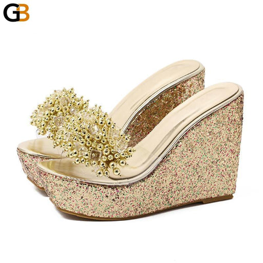 Sexy Trifle Slides Casual Beading Open Toe Wedges Sandals for Women - SolaceConnect.com