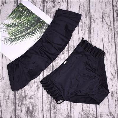 Women's Strapless High Waist Off Shoulder Cross Strap Bikinis Set - SolaceConnect.com