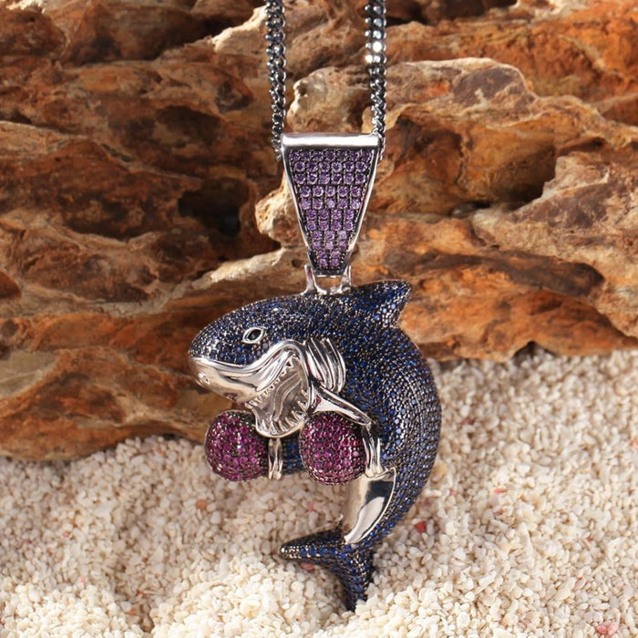 UWIN Colored Boxing Shark Pendant Necklace Fashion Iced Purple Blue Color Cubic Zirconia Shark - SolaceConnect.com