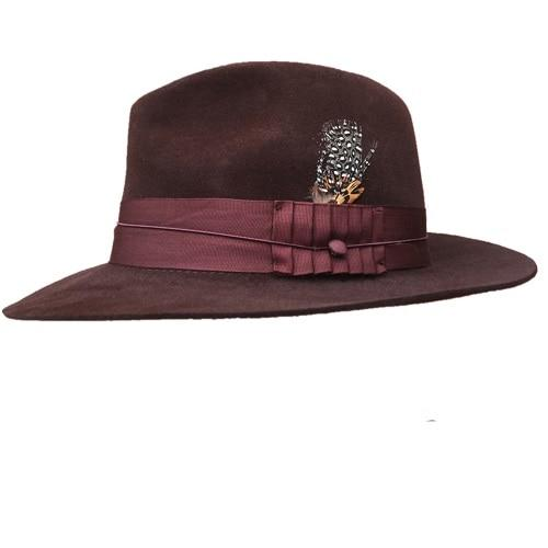 Classic Luxury Angora Wool Fedora Hat with Black Grey and Brown Colors - SolaceConnect.com