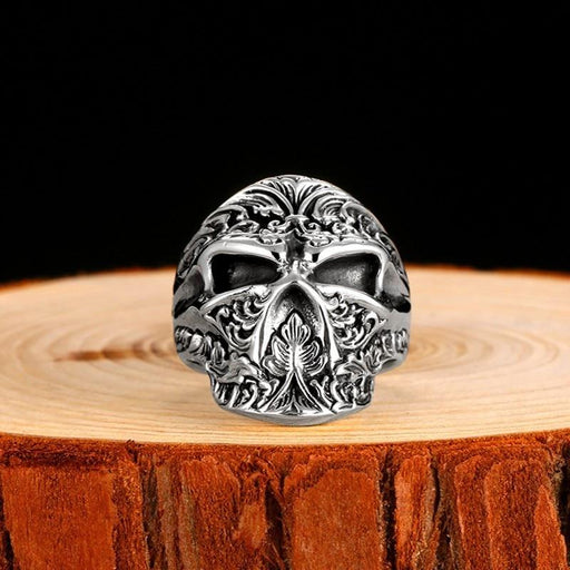 Adjustable Handmade Gothic Sugar Skull Sterling Silver Punk Ring for Men - SolaceConnect.com