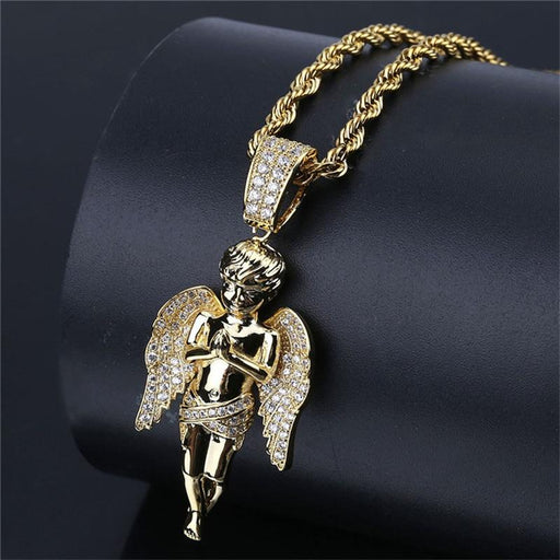Iced Out Angel Zircon Pendant Hip Hop Gold Chain Necklace for Men Women - SolaceConnect.com