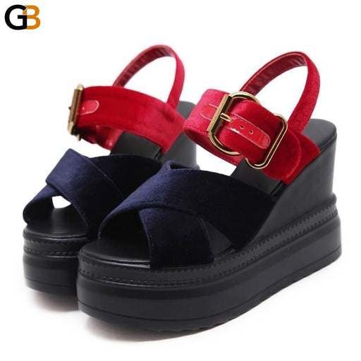 Summer Platform Wedge Sandals for Women with High Heels and Buckle Strap - SolaceConnect.com