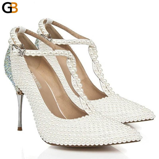 Fashion Pearl Crystal Sexy Pointed Toe T Strap Ankle Buckle White Wedding Shoes For Women Genuine - SolaceConnect.com