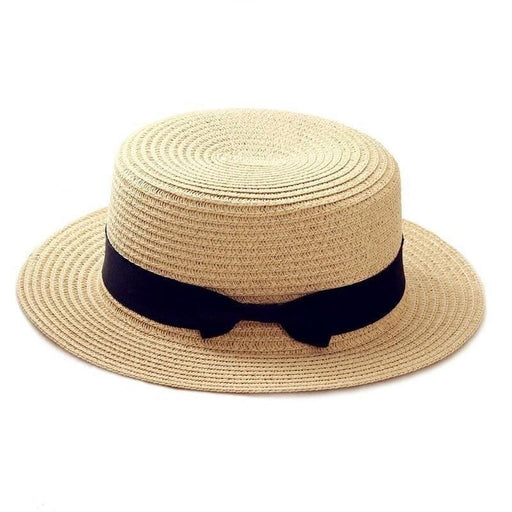 Simple Casual Parent-Child Straw Beach Hat with Flat Brim for Women - SolaceConnect.com
