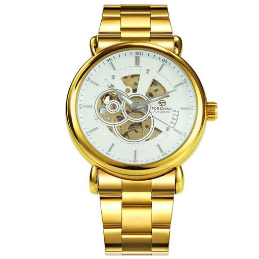 FORSINING 2019 Automatic Mechanical Watch Men Golden Metal Strap Skeleton WINNER Mens Watches - SolaceConnect.com