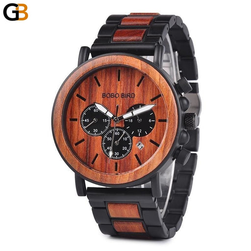 Luxury Wooden Men's Stylish Chronograph Military Quartz Watch - SolaceConnect.com
