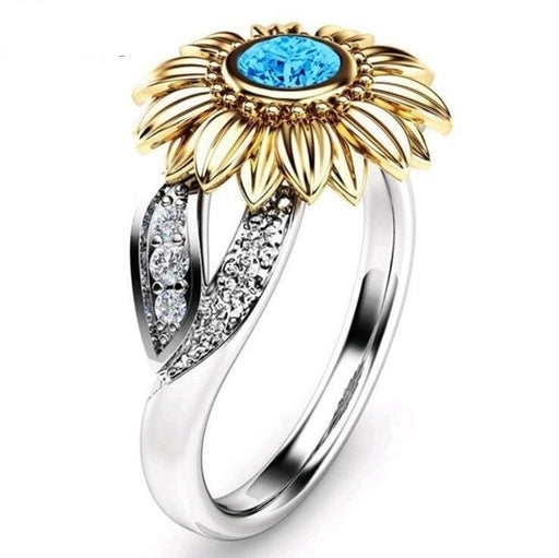 Sunflower style colorful round crystal CZ Wedding Party Rings for Women girls trendy love Gift - SolaceConnect.com