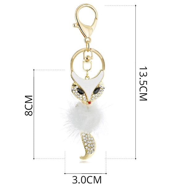 Cute Fox Fur Key Chains Rings Crystal Bag Pendant Anime Keyrings KeyChains For Women Keyholder For - SolaceConnect.com