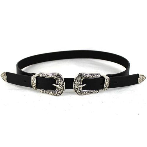 Western Black Leather Women's Cowgirl Waist Belt with Metal Buckle - SolaceConnect.com