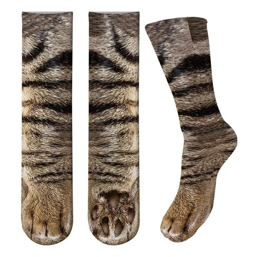 3D Print Adult Animal Paw Socks Unisex Crew Cat Long Stocks Elastic Breathable Sock Dog Horse - SolaceConnect.com