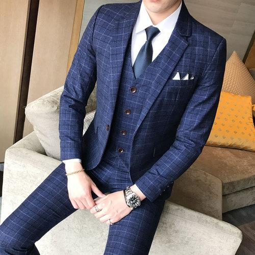 ( Jacket + Vest + Pants ) 2019 Men's Fashion Boutique Plaid Wedding Dress Suit Three-piece - SolaceConnect.com